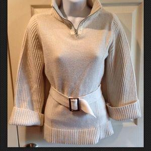 ZARA Sweater 1/4 Zip Alpaca Leather Belted Collar